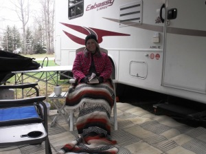 A normal spring camping trip ? She looks warm enough. Maybe even HOT lol