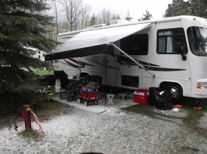 Not snow. This was rigth after our short hail storm. Fire didn't even go out.
