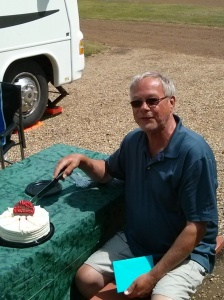 Retirement cake cutting by Larry Geddes after 32 years with JELD-WEN
