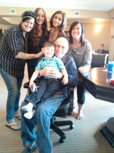 Grandkids and great grand kid at Peter's 80th