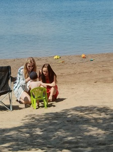 Kristen, Danielle and Jackson on beach