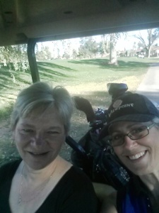 The girls selfie golfing