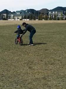 Jackson on his two wheeler