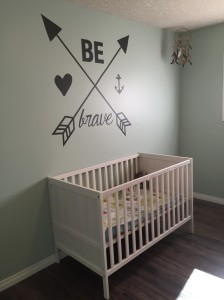 The nursery with new paint, flooring and furniture