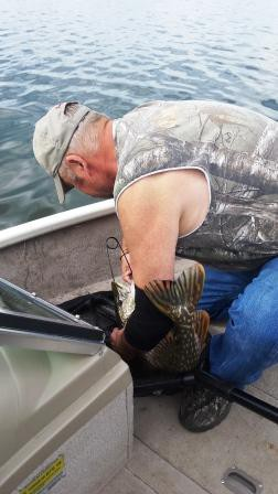Fred fighting to get out the hook of the big 8.5 lbs of Northern Pike