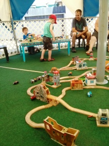 Fun playing with all of the wood rails and trains