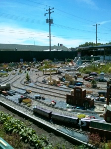 A full yard of mini trains. Quite amazing really.  I am sure it started as a hobby and just got out of hand.