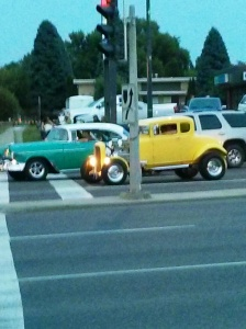 Classic shoebox against Deuce coupe at lights