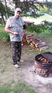 Hopefully you can see Fred with his unique wiener cooker. Difficult to see him in that camo