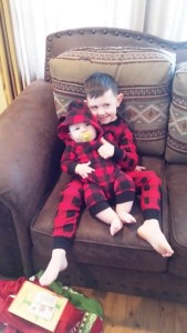 Jackson & August with new PJ's