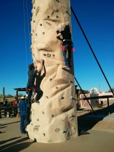 The climbing wall was excellent.