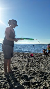 Beach day, sun, water guns, sand castles