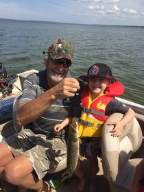 Proud Papa with Jackson's first fish
