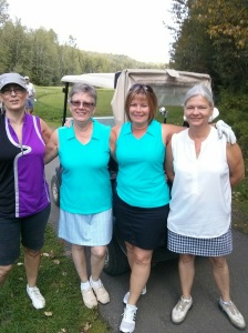 Jackie, Terry, Tracy and Jenny all ready to hit those balls.