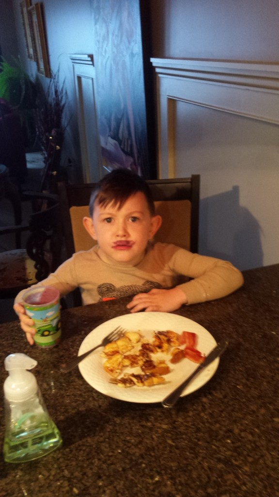 French toast, bacon and a mini Hitler look a like from Grammy's smoothie