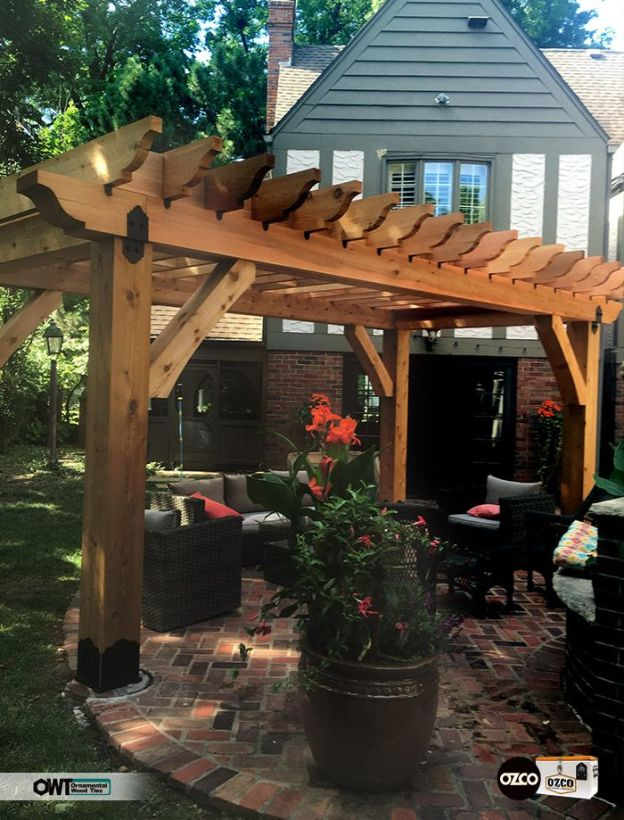 A free standing pergola made out of 6 x6 cedar with 2 x6 rails and cross beams.