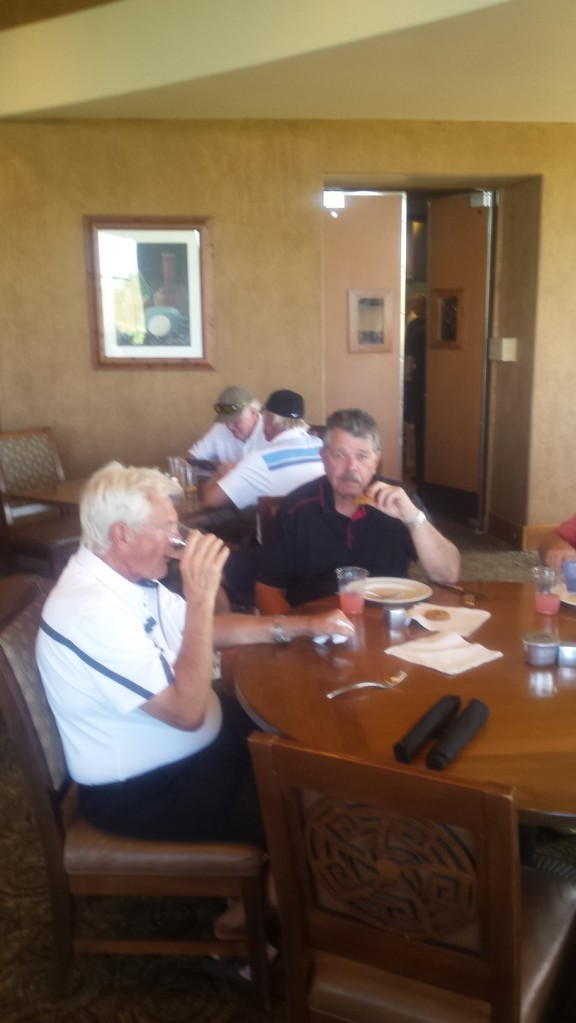 George Modzrejewski and Sandy Sutherland golfing at Whirlwind